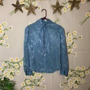 Vintage Tops - Vintage baby blue satin brocade pussy bow blouse